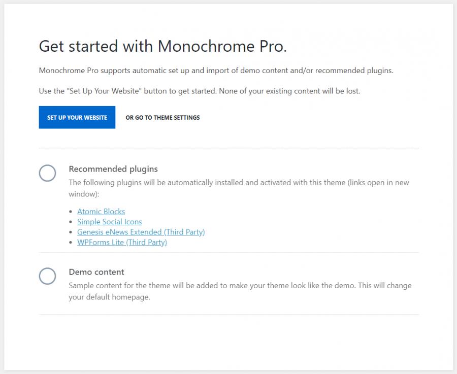Configuración automática de Genesis Monochrome Pro