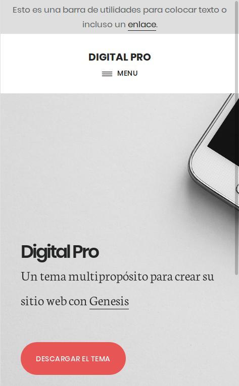Barra de utilidades en Digital Pro adaptativa