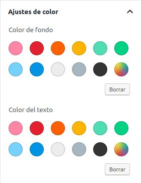 Paleta de colores de Gutenberg