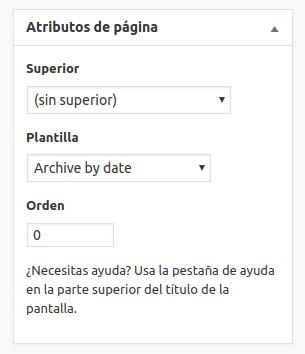 Atributos de página