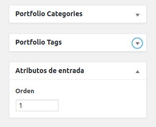 Atributos de entrada del Portfolio