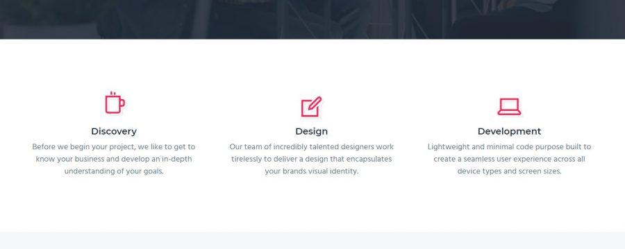 Iconos informativos en la portada de Business Pro Theme