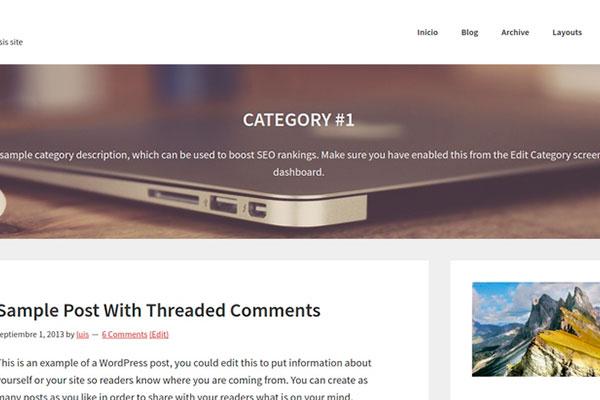 Cabecera de página de categoría con imagen de fondo en el título