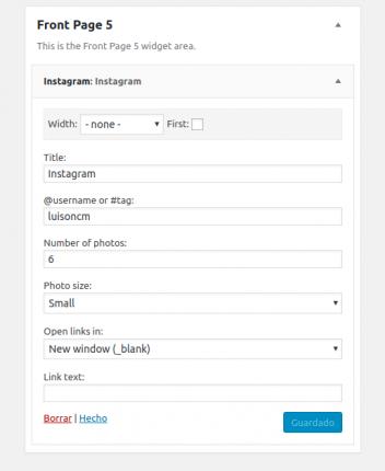 Configuración del widget de Instagram