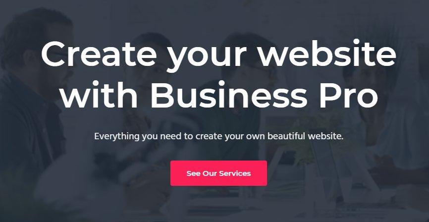 Llamada a la acción en la portada de Business Pro