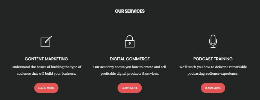 Sección servicios de la portada de Digital Pro Theme