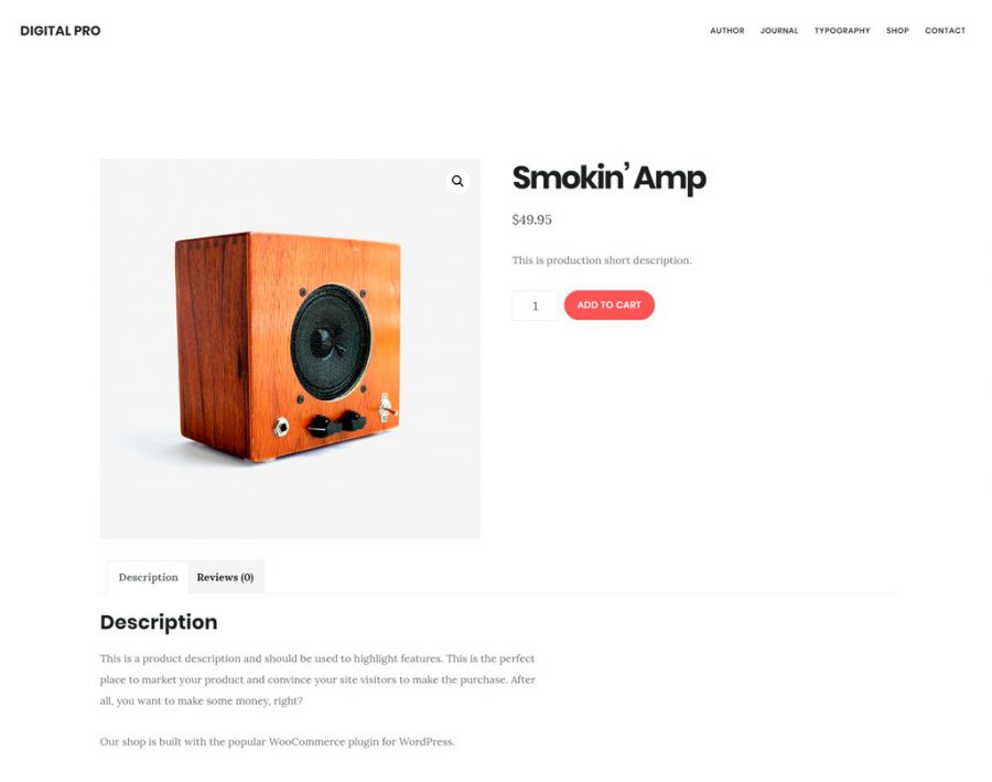 Página de producto en Digital Pro theme