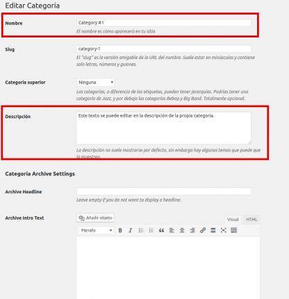 Detalles de la edición de la categoría en WordPress