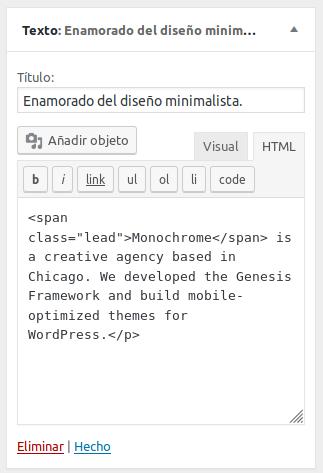 Primer área de widgets de Monochrome Pro theme
