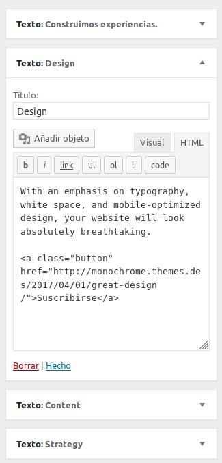 Configuración widget de texto en Monochrome Pro