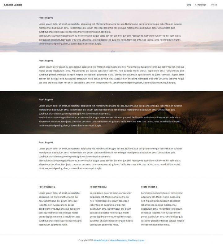 Página de inico con Widgets en Genesis Sample