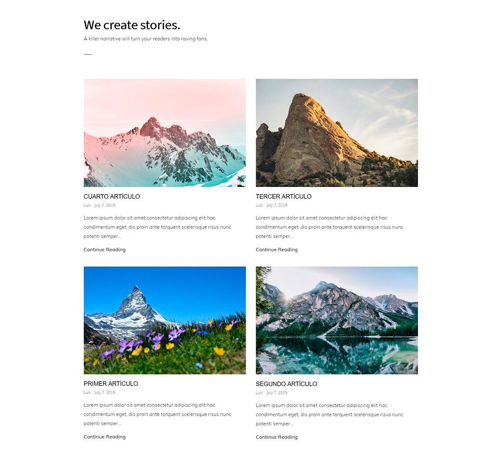 Grid de artículos en la portada de Monochrome Pro