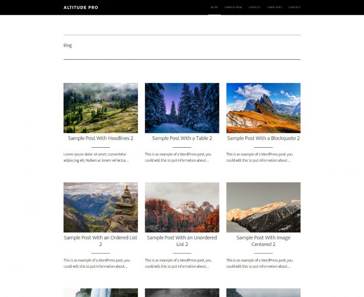 Grid de artículos en el blog y categorías de Altitude Pro