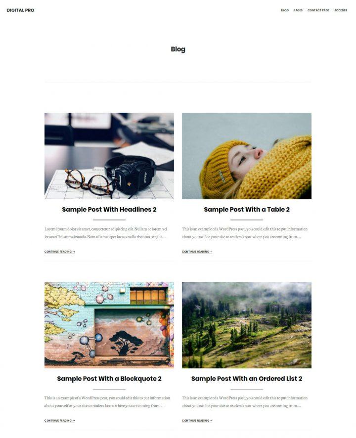 Grid de artículos en Digital Pro