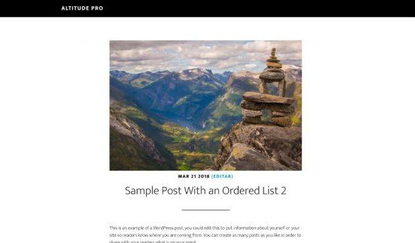 Mostrar la imagen destacada sobre el titulo en las entradas en Altitude Pro