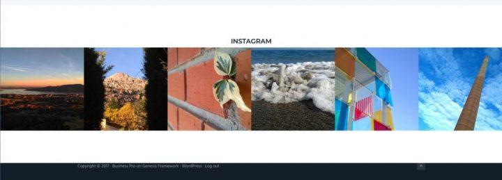 Feed de Instagram a todo el ancho de la página.
