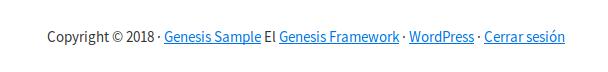 Información meta del Footer de Genesis