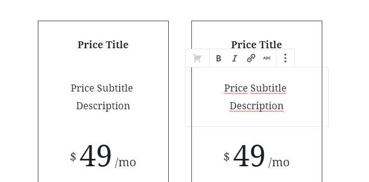 Detalle de los sub-bloques de las tablas de precios en Monochrome pro theme