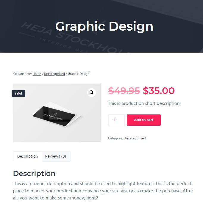 Página de producto en Business Pro Theme