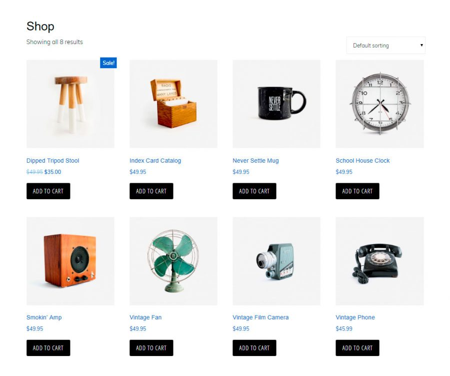 Diseño de la página de tienda en Monochrome Pro