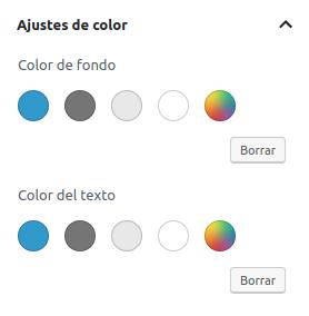 Paleta de colores personalizada de Gutenberg