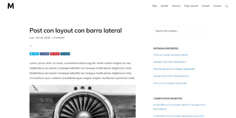 Post con barra lateral en Monochrome Pro