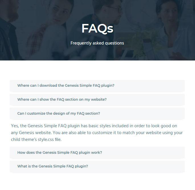 Preguntas frecuentes en Business Pro template