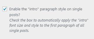 Opción para resaltar el primer párrafo de los artículos en Monochrome Pro