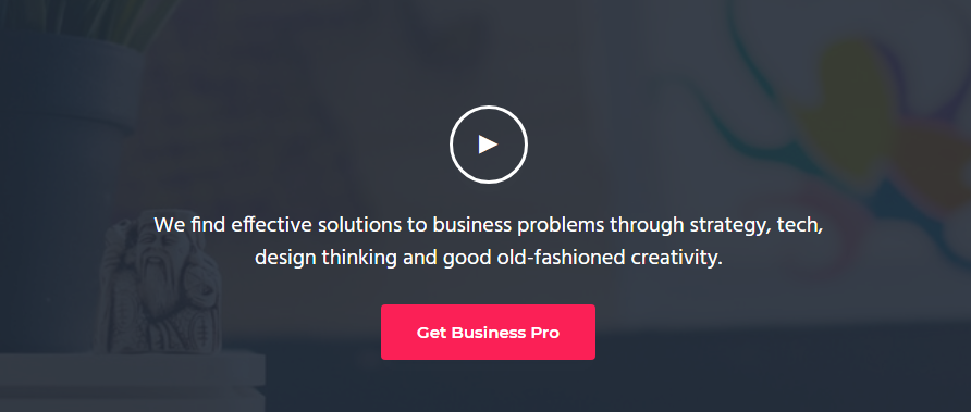 Video en la portada de Business Pro theme
