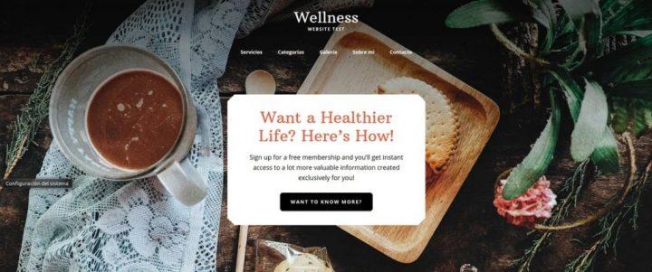 Cabecera transparente en el tema Wellness Pro